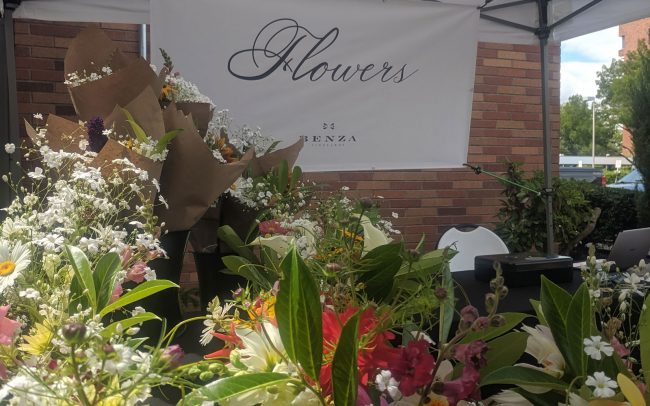Benza Vineyards flowers stand at the Farmers' Market